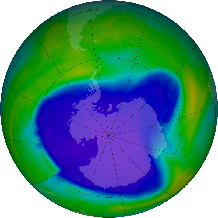 Antarctic ozone map for 30 September 2015