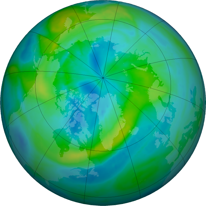 Arctic ozone map for 01 October 2015