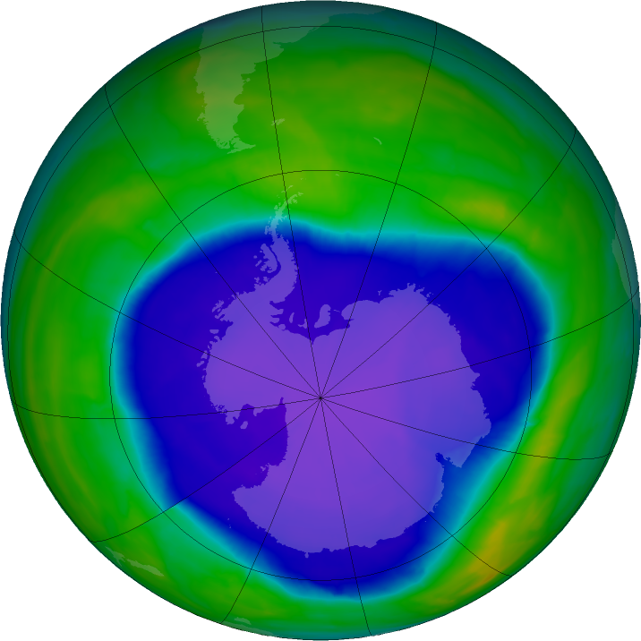 Antarctic ozone map for 01 October 2015