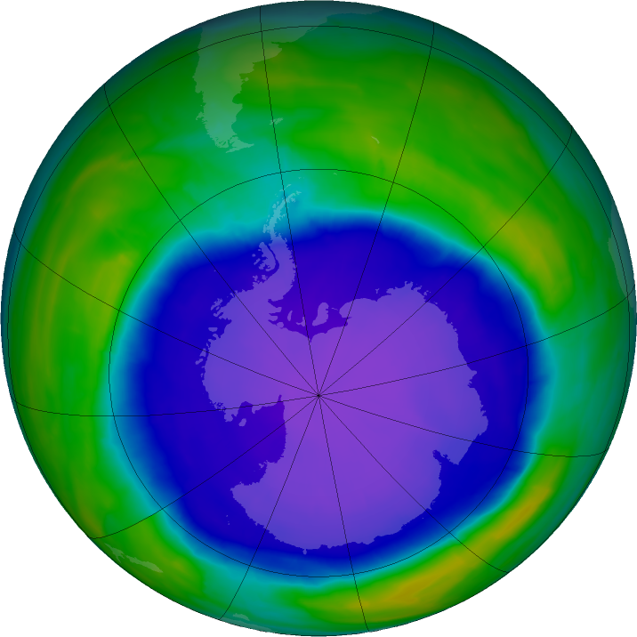 Antarctic ozone map for 02 October 2015