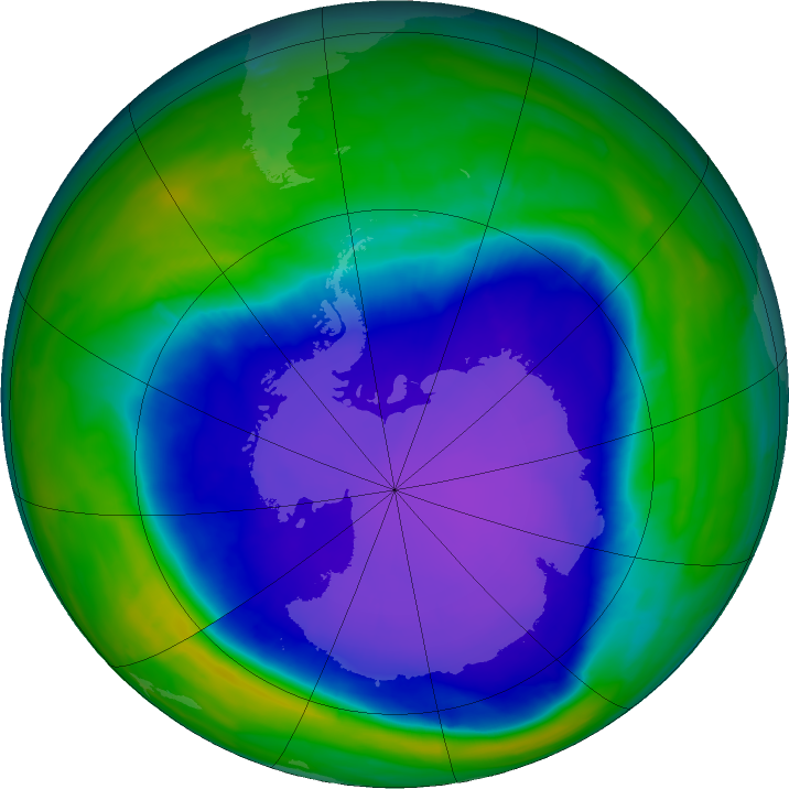 Antarctic ozone map for 04 October 2015