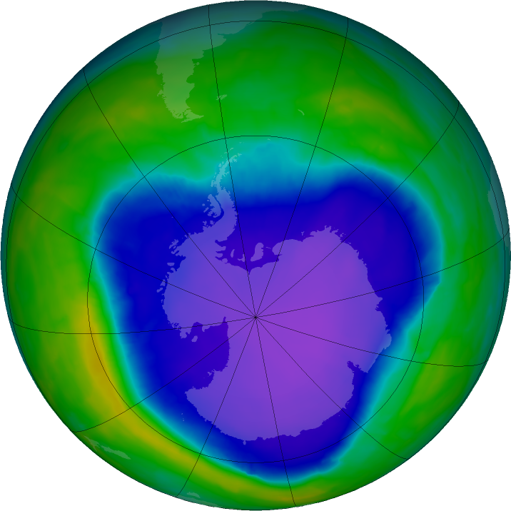 Antarctic ozone map for 05 October 2015