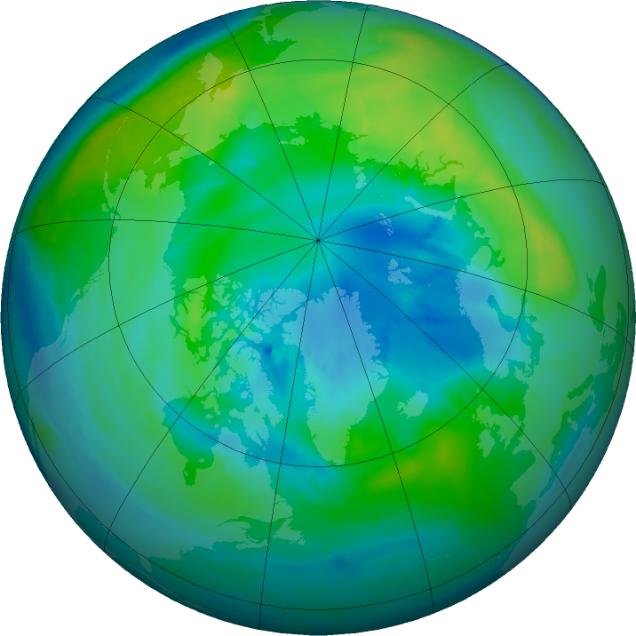 Arctic ozone map for 07 October 2015