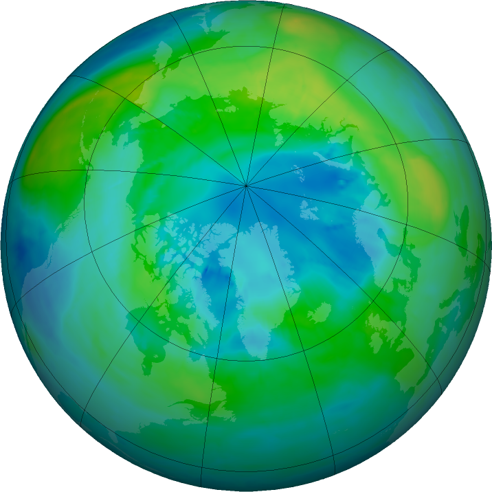 Arctic ozone map for 08 October 2015