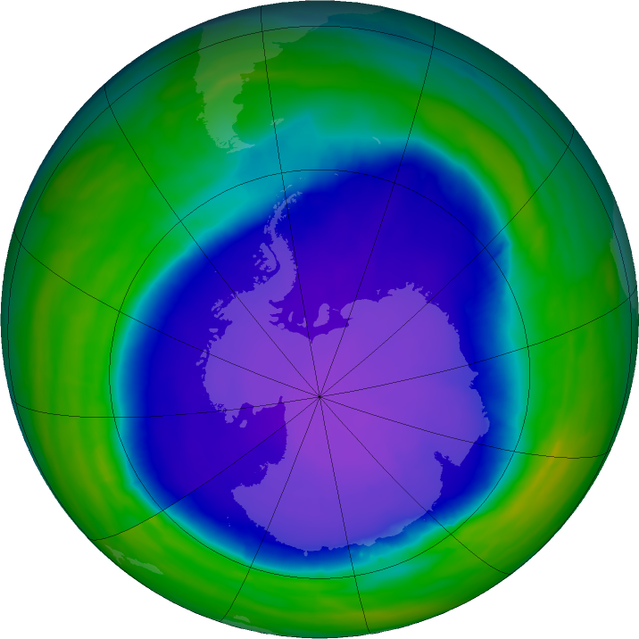 Antarctic ozone map for 10 October 2015
