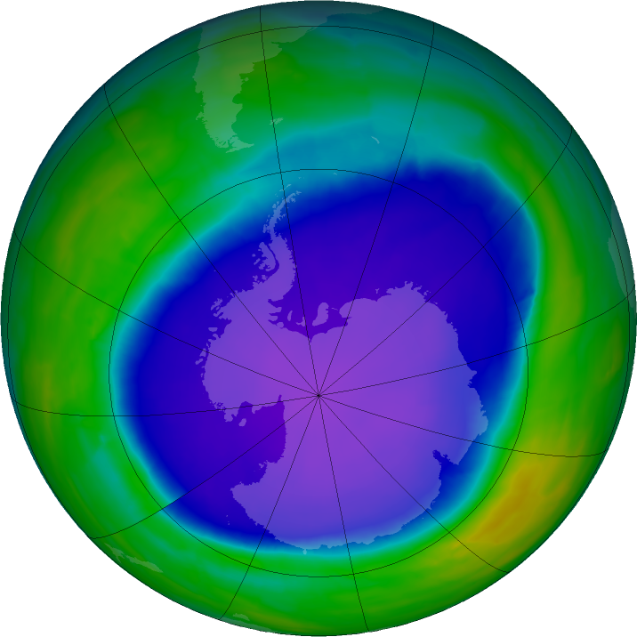 Antarctic ozone map for 11 October 2015