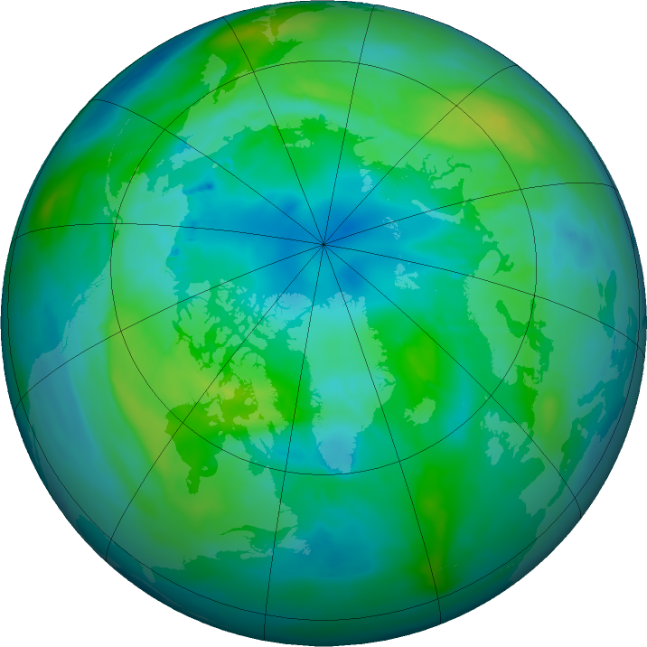 Arctic ozone map for 14 October 2015