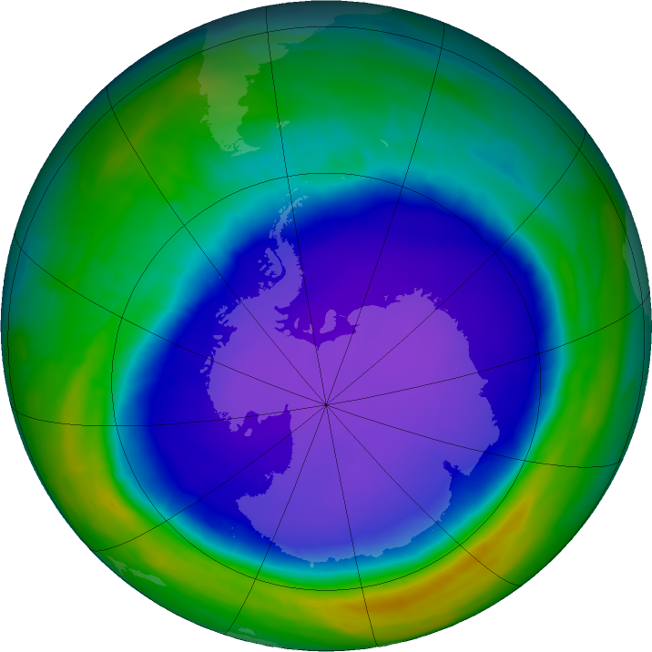 Antarctic ozone map for 14 October 2015