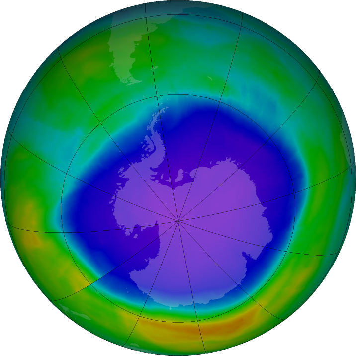 Antarctic ozone map for 15 October 2015