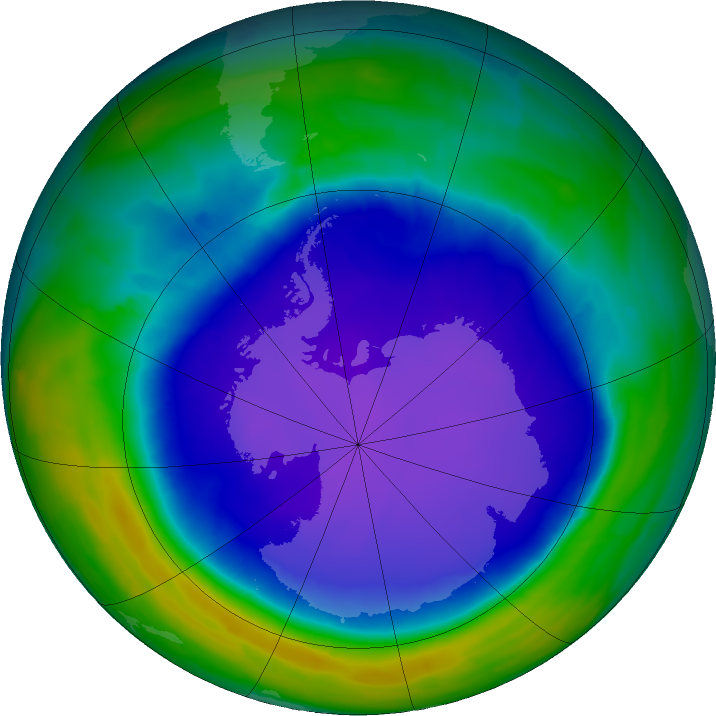 Antarctic ozone map for 16 October 2015