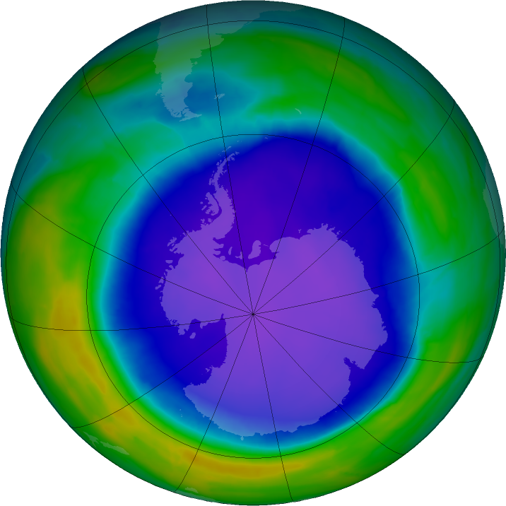 Antarctic ozone map for 17 October 2015