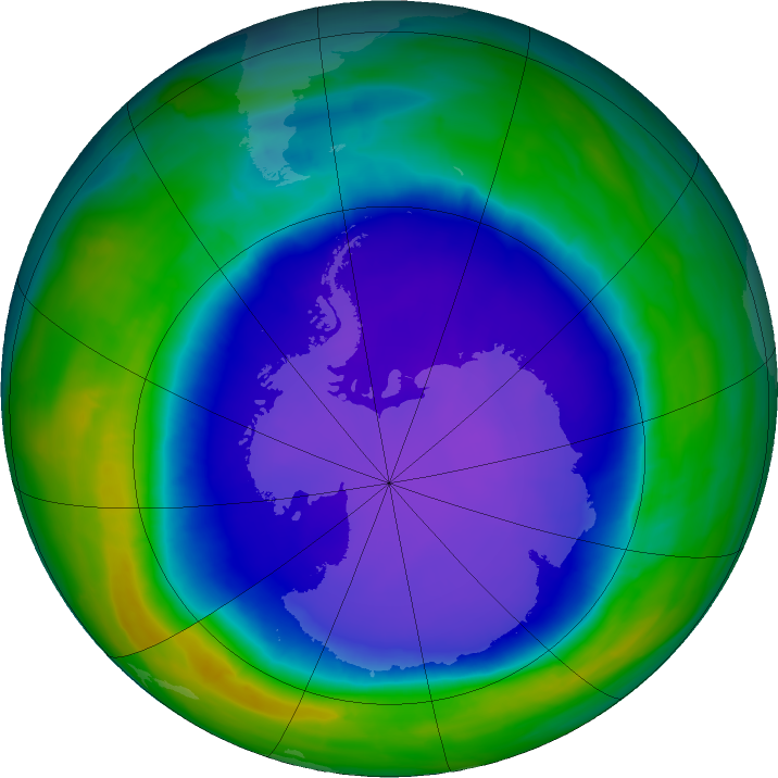 Antarctic ozone map for 18 October 2015