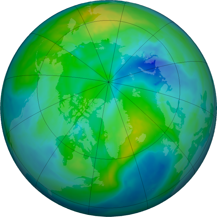Arctic ozone map for 20 October 2015