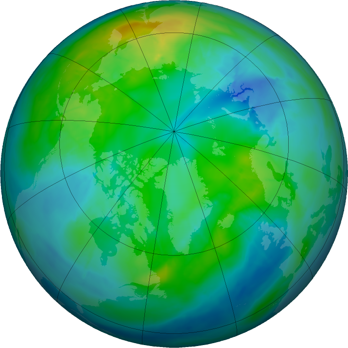 Arctic ozone map for 21 October 2015