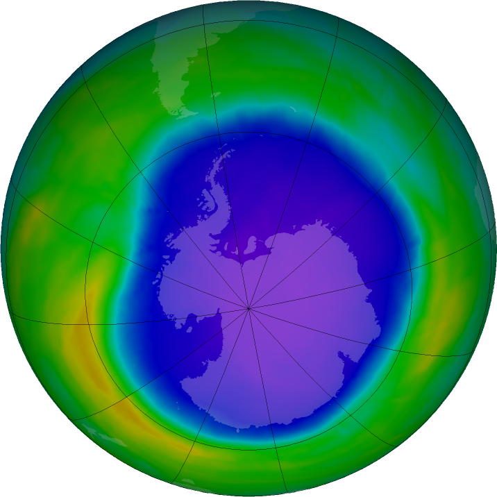 Antarctic ozone map for 22 October 2015