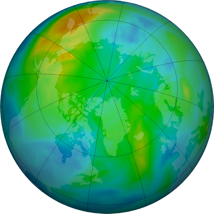 Arctic ozone map for 23 October 2015