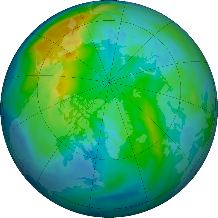 Arctic ozone map for 24 October 2015