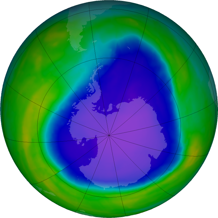 Antarctic ozone map for 24 October 2015
