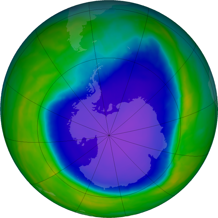 Antarctic ozone map for 25 October 2015