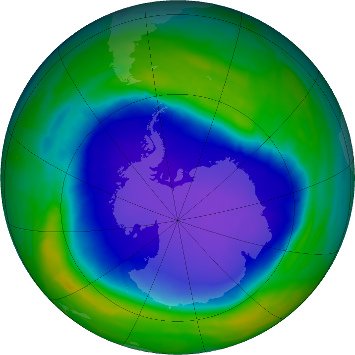 Antarctic ozone map for 30 October 2015