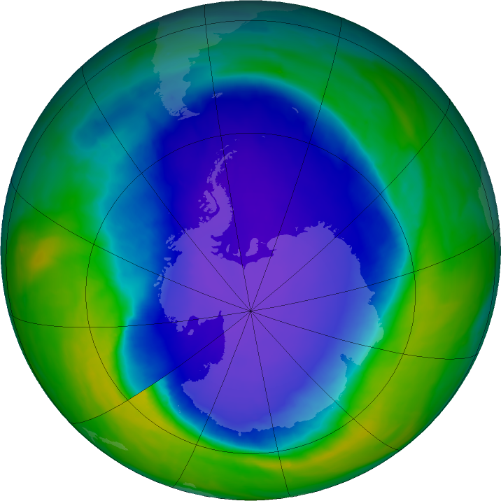 Antarctic ozone map for 03 November 2015