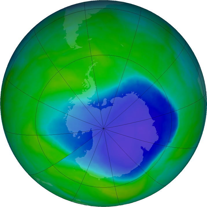 Antarctic ozone map for 29 November 2015