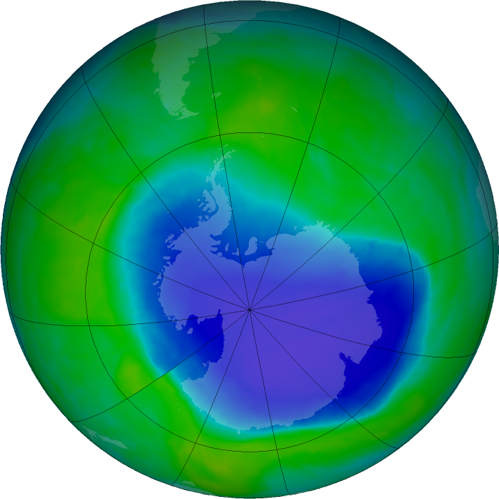 Antarctic ozone map for 01 December 2015