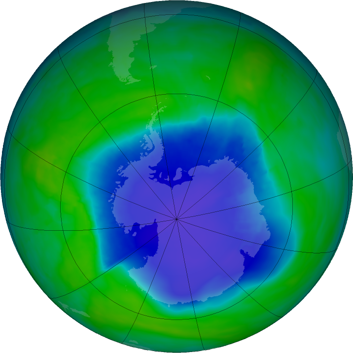 Antarctic ozone map for 03 December 2015