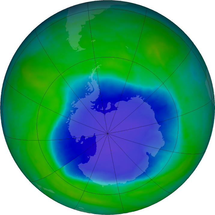 Antarctic ozone map for 04 December 2015