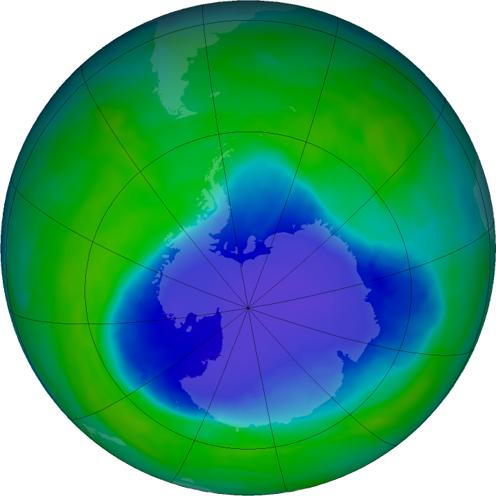 Antarctic ozone map for 05 December 2015