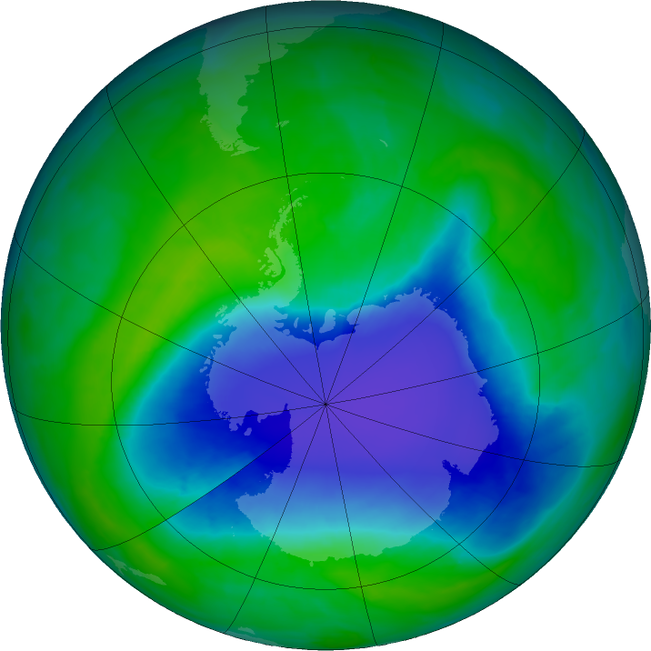 Antarctic ozone map for 07 December 2015