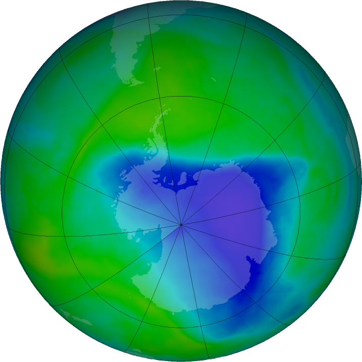 Antarctic ozone map for 09 December 2015