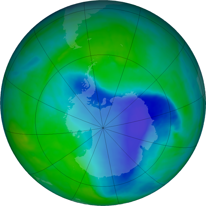 Antarctic ozone map for 10 December 2015