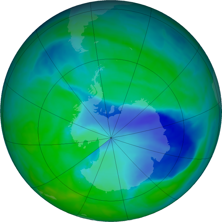 Antarctic ozone map for 13 December 2015