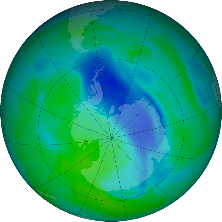 Antarctic ozone map for 17 December 2015