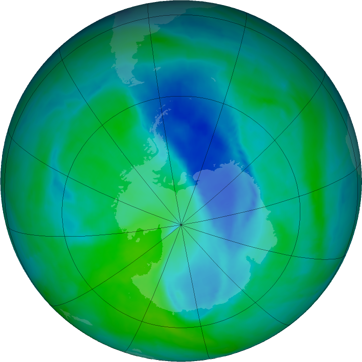 Antarctic ozone map for 18 December 2015