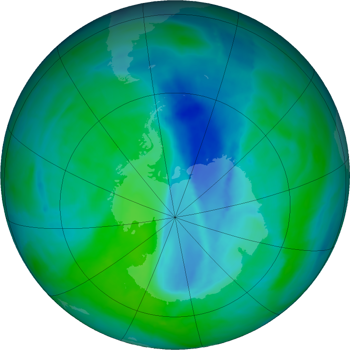 Antarctic ozone map for 19 December 2015