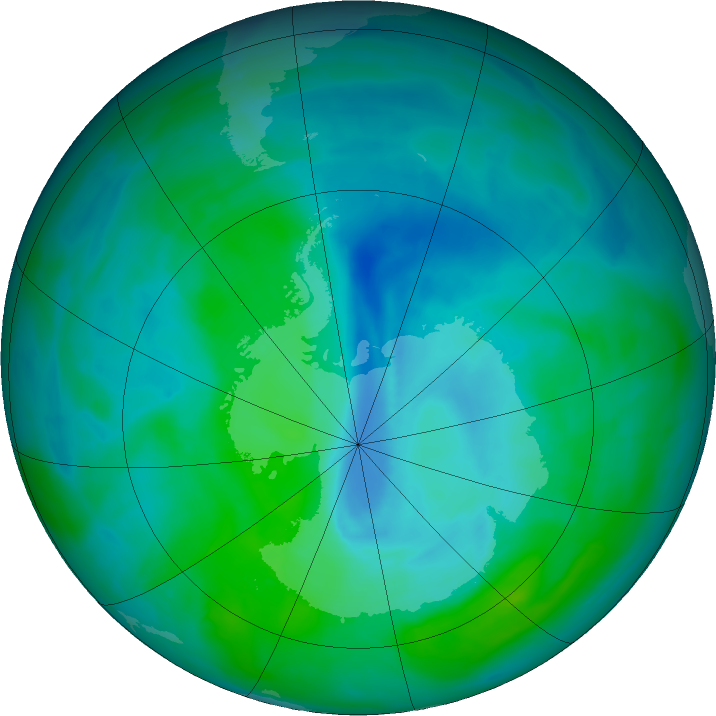 Antarctic ozone map for 21 December 2015