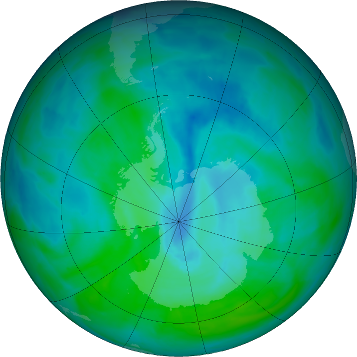 Antarctic ozone map for 22 December 2015