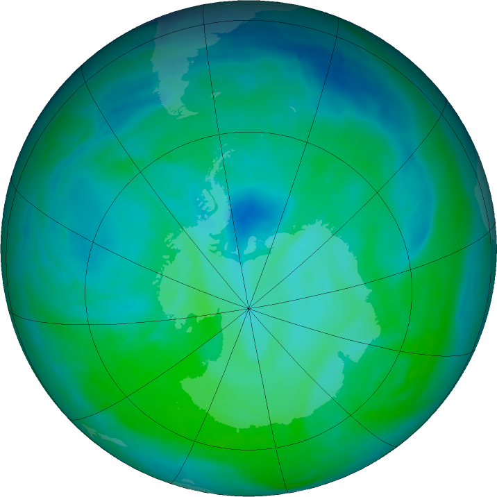 Antarctic ozone map for 24 December 2015