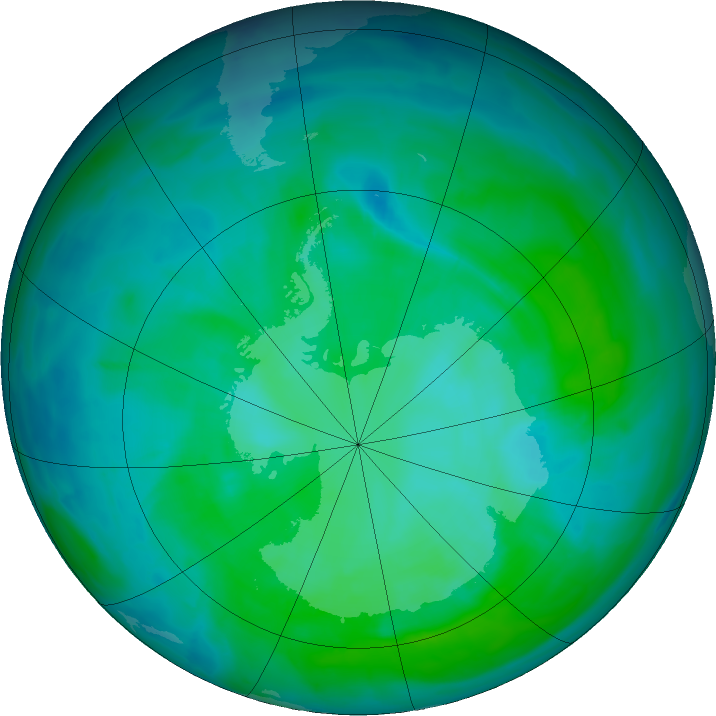 Antarctic ozone map for 27 December 2015