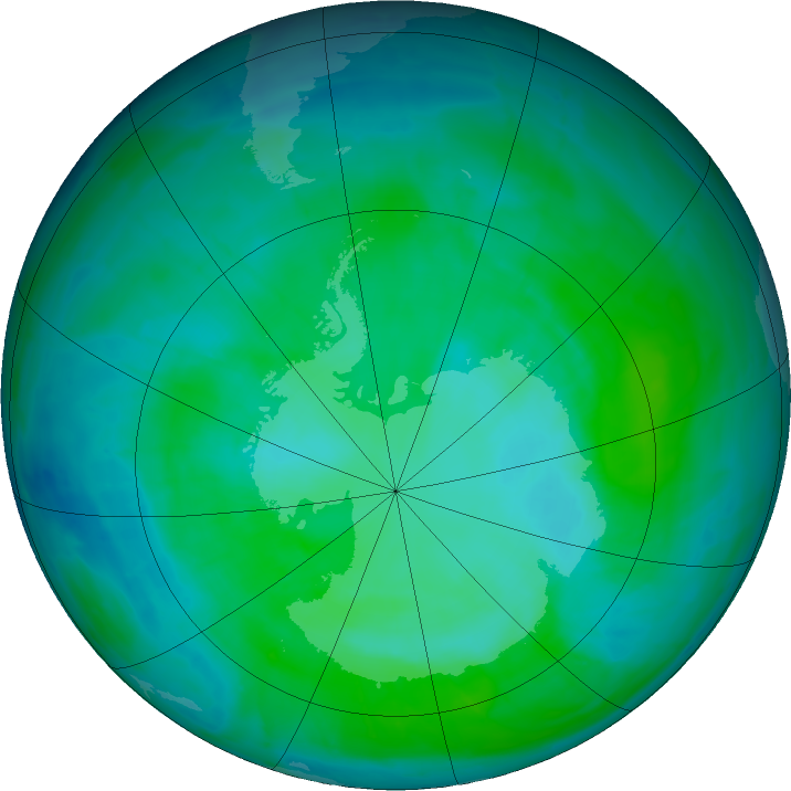 Antarctic ozone map for 28 December 2015
