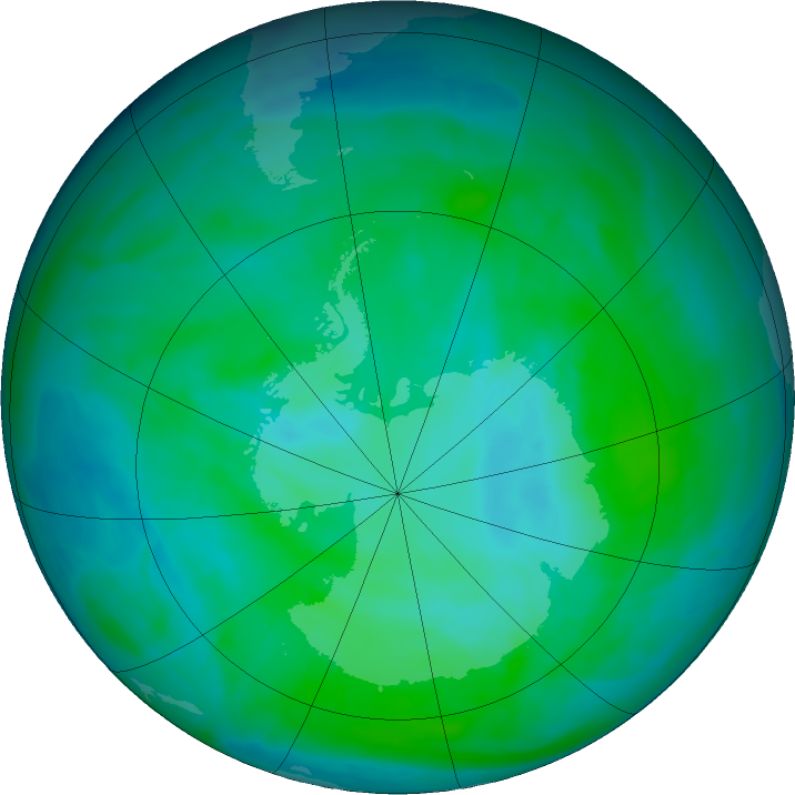 Antarctic ozone map for 29 December 2015