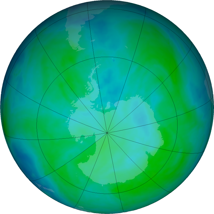 Antarctic ozone map for 02 January 2016