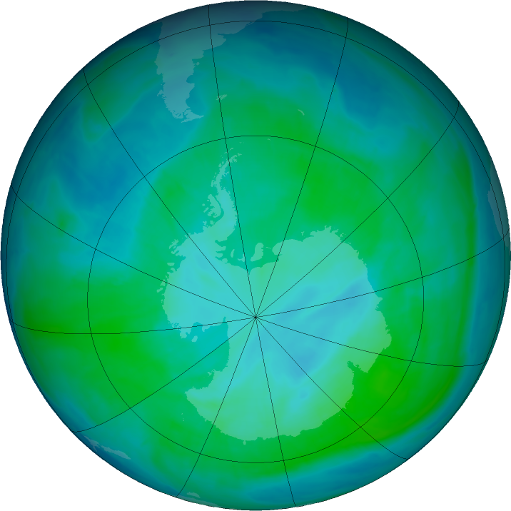 Antarctic ozone map for 06 January 2016