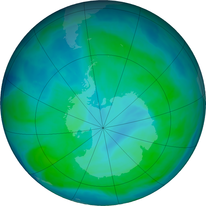 Antarctic ozone map for 08 January 2016
