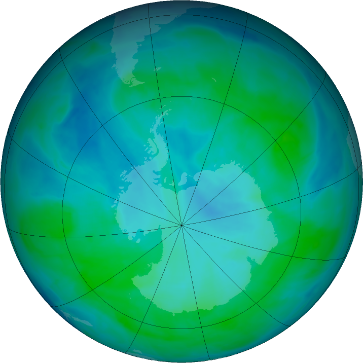 Antarctic ozone map for 11 January 2016