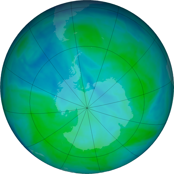 Antarctic ozone map for 12 January 2016