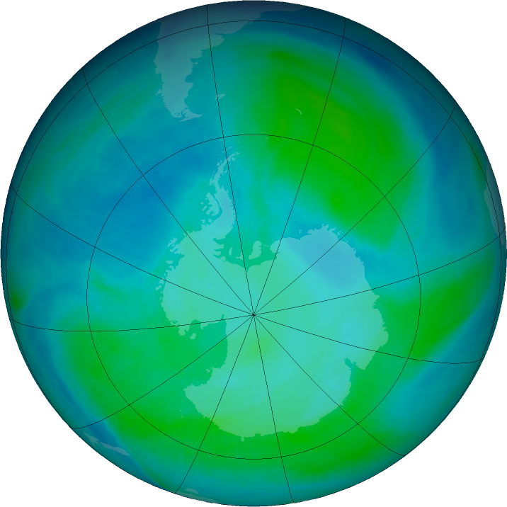 Antarctic ozone map for 15 January 2016