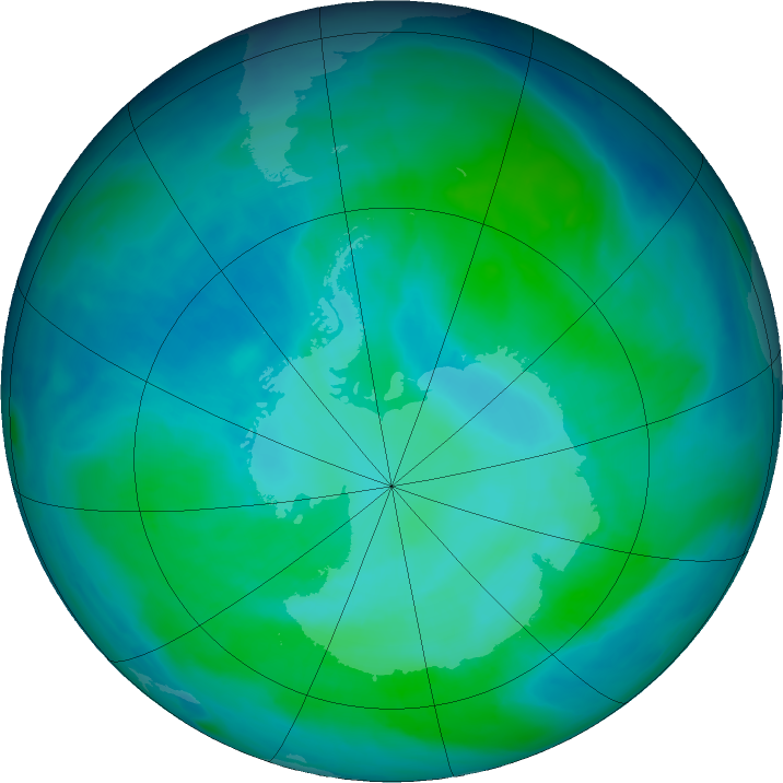 Antarctic ozone map for 16 January 2016
